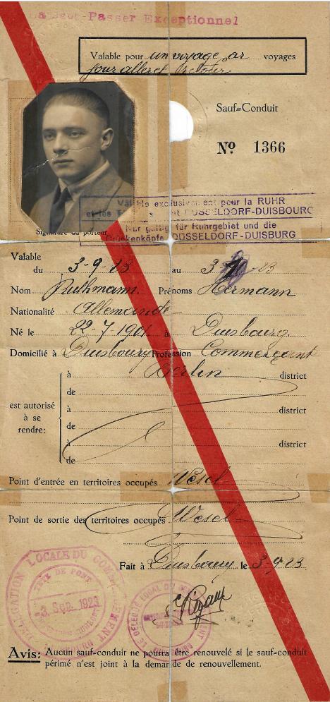 Ruthmann_Hermann_1923_Passierschein_Frankreich