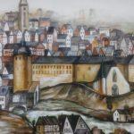 Ansicht von Altstadt Siegen, gemalt von Tzveta Grebe auf großer Mauer am Fischbacherberg.