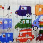 Ein Beispiel der neugestalteten Garagentore in der Siegbergstraße in Siegen. Kindliches Motiv: verschiedene Fahrzeuge.