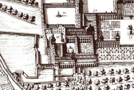 <em>El Monasterio de los Jerónimos y el Palacio del Buen Retiro en el plano de Teixeira, 1656. Plano de Arte de Madrid</em>