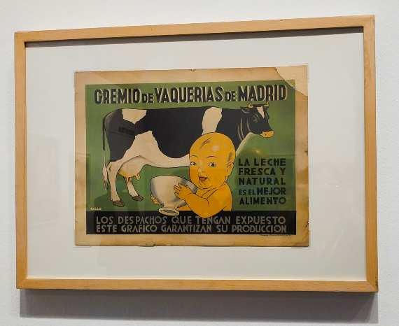 Cartel del Gremio de Vaquerías de Madrid que colocaban los despachos de leche en Madrid para acreditar la calidad de su leche.