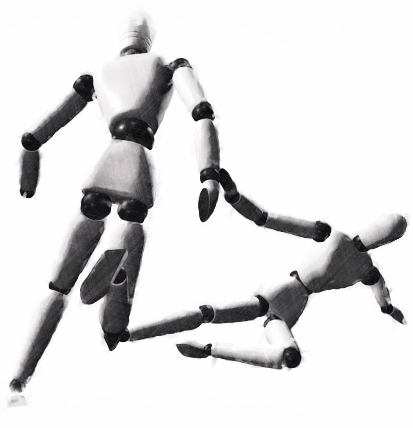 Example pose with multiple models from 3D pose tool Manikin with sketch filter