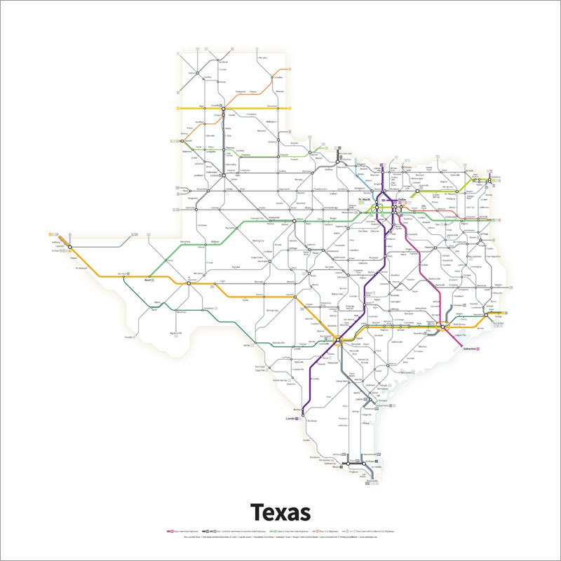 Every US Highway Drawn Like a TransitMap (3)