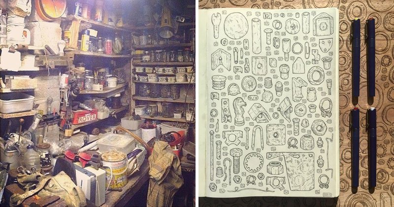 Artist Begins 5 Year Project to Draw the 100,000+ Items in Late Grandfather's ToolShedArtist Begins 5 Year Project to Draw the 100,000+ Items in Late Grandfather's ToolShed