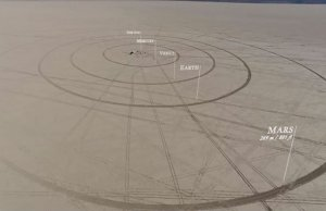 Friends Build the Solar System to Scale in the Middle of the Desert