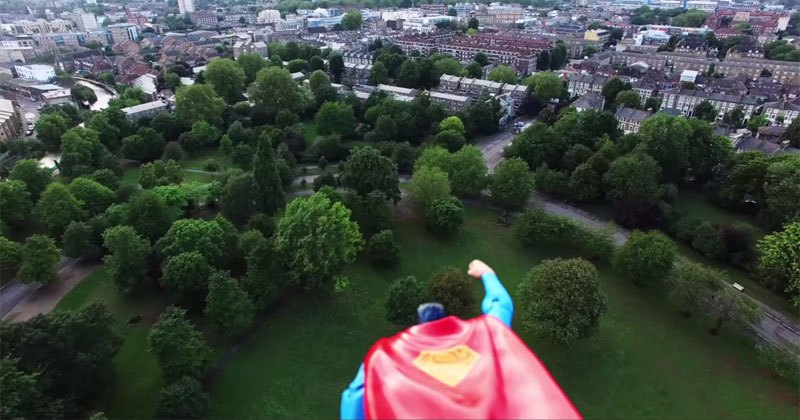 Superman Action Figure Attached to Drone and Makes a Hero Cam