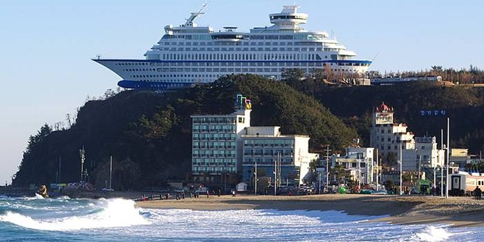 Cruise Ship Hotel On Top Of South Korean Cliff