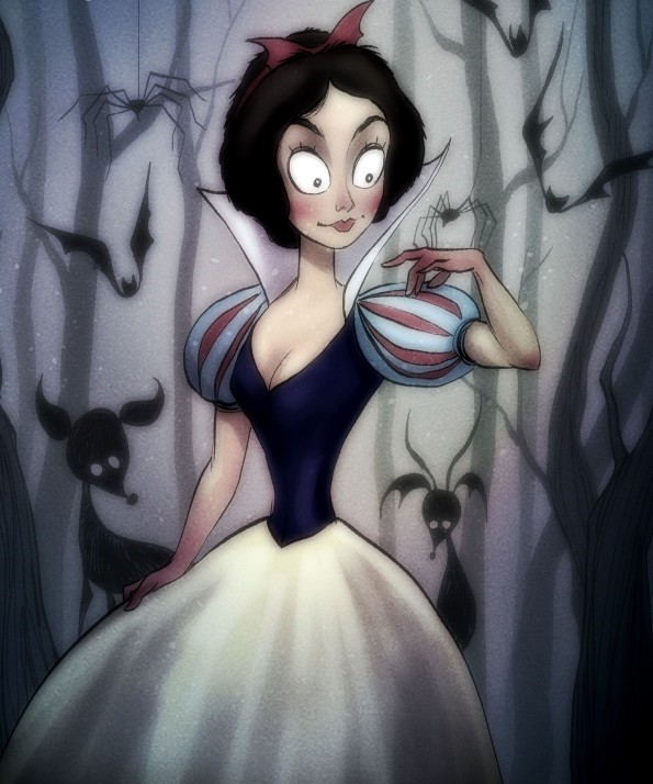 Here's a collection of illustrations by artist Andrew Tarusov (previously featured HERE) that show Disney characters drawn in the style of director Tim Burton. Pretty cool! I would definitely watch them all IRL. Then again, that's not saying much — I don't have discerning taste. Hell, I don't have any taste at all! One time I spent an entire afternoon watching all the school closings in a town I don't even live in. I'd pretty much watch anything.