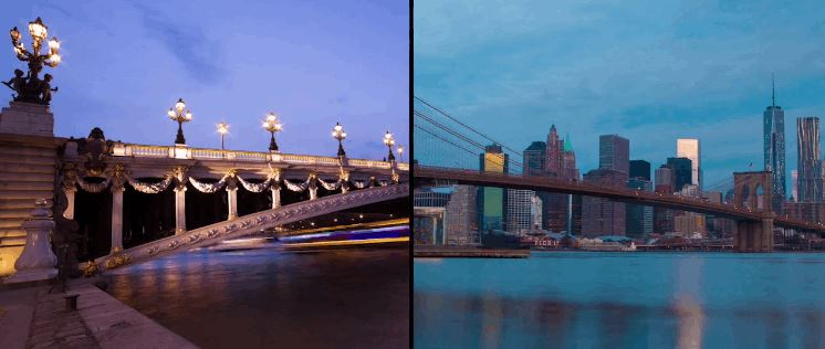 Split-Screen Time-Lapse Video That Compares Paris and New York City