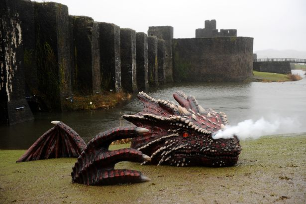 Dragon Appeared On The Banks of a Welsh Castle