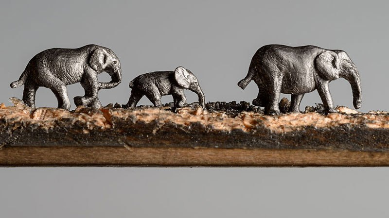 Family of Elephants Carved Into a Pencil
