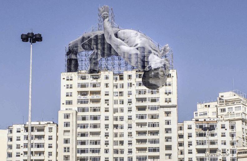 Giant Photos of Athletes On Top Of Buildings in Rio de Janeiro