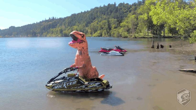 T-Rex On a Jet Ski Doing Some Unreal Stunts