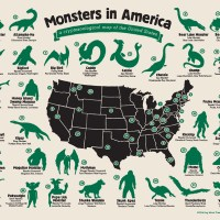 Infographic Featuring Legendary Creatures From Across the US