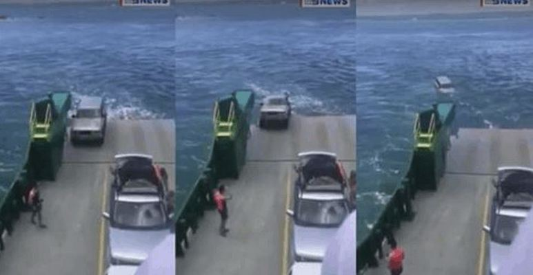 Dramatic Footage Shows Car Felling Off A Ferry
