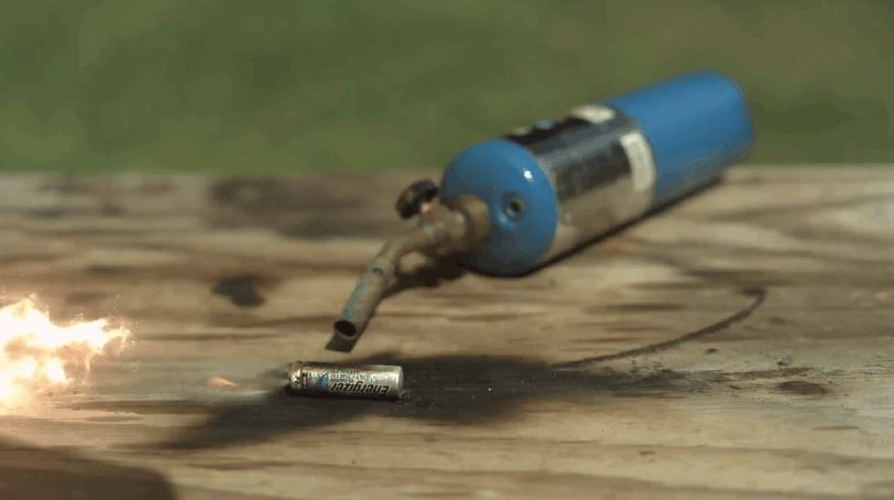 Batteries Heated by a Blowtorch