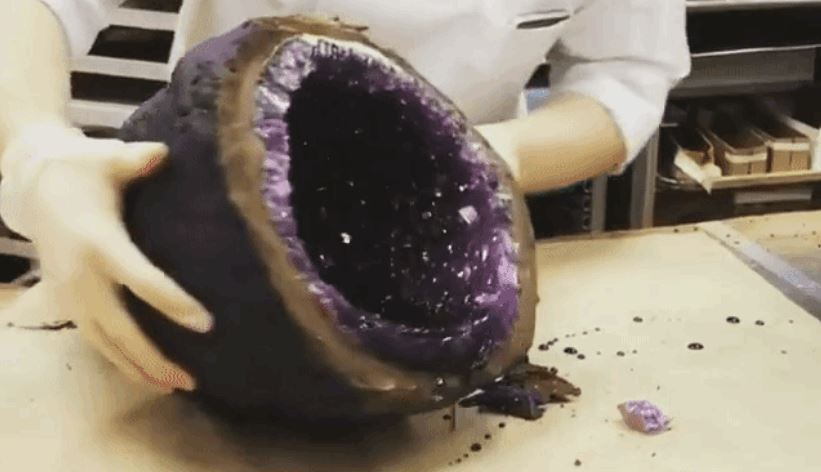 Chocolate Geodes Reveal Brightly Hued Rock Candy Crystals When Opened