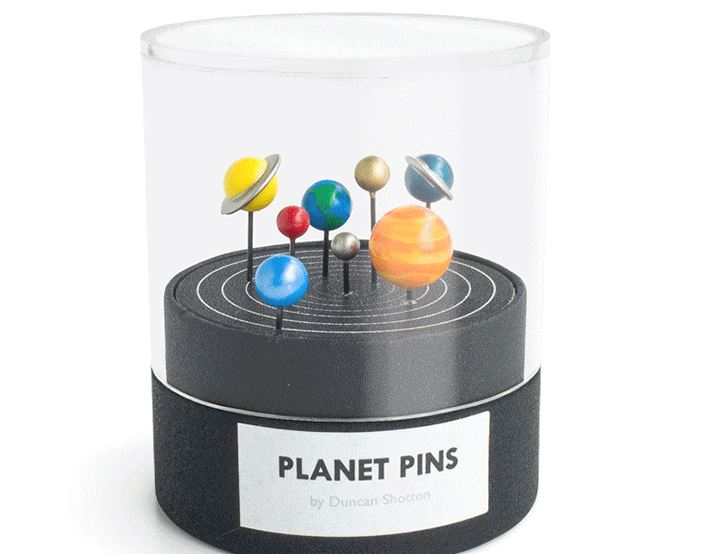 "British designer Duncan Shotton has created Planet Pins, a hand painted and cast concrete series of planetary system push pins that allow you to bring ""outer-space to your home and office space."" Duncan is currently raising funds on Kickstarter to help with production costs."