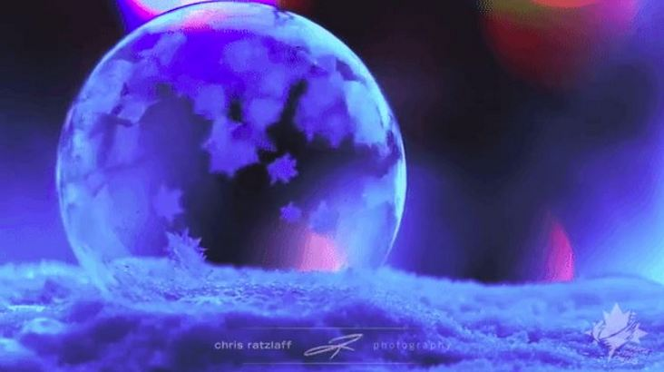 Soap Bubbles Freeze Outdoors