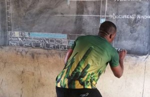 Teacher Using Chalkboard to Teach MS Word Gets Viral And Recieve Donations