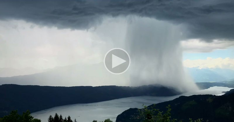 Incredible Cloudburst Timelapse Over Austria's Lake Millstatt