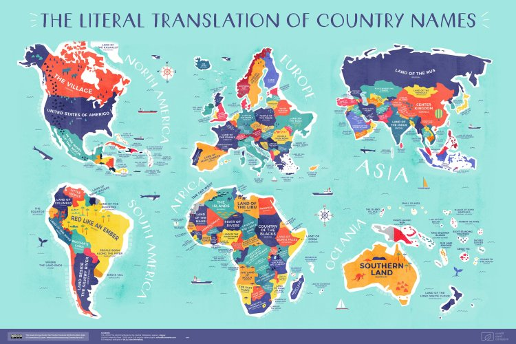 An Awesome World Map That Tell Literal Translation of Every Country Name In the World