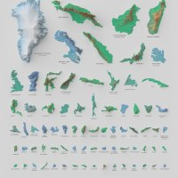 A Stunning Poster of the 100 Biggest Islands in the World