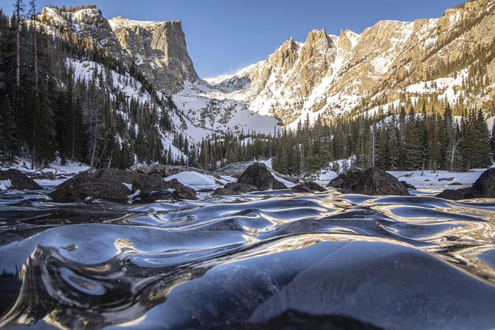 Frozen Waves At Dream Lake, Colorado