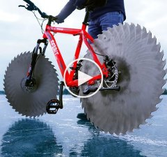 Giant Saw Blades on Bike