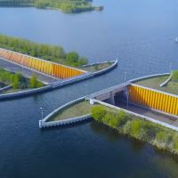 The Stunning Veluwemeer Aqueduct Water Bridge For Road and Boat Traffic in the Netherlands