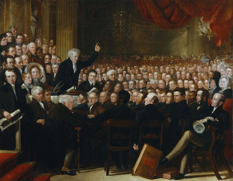 Thomas Clarkson interpellant les membres de l'Anti-Slavery Society en 1840.jpg