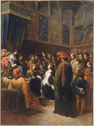 Alexandre-Marie Colin, Valentine de Milan implore la justice du roi Charles VI pour l'assassinat du duc d'Orléans en 1407, 1836, Palais du Luxembourg.jpg