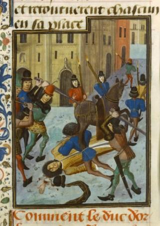 Assassinat du duc Louis d'Orléans. Enluminure du Maître de la Chronique d'Angleterre, vers 1470 -1480, Paris, BnF.jpg