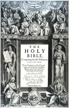 Frontispice de l'édition princeps (1611) de la Bible du roi Jacques, par Cornelis Bol.