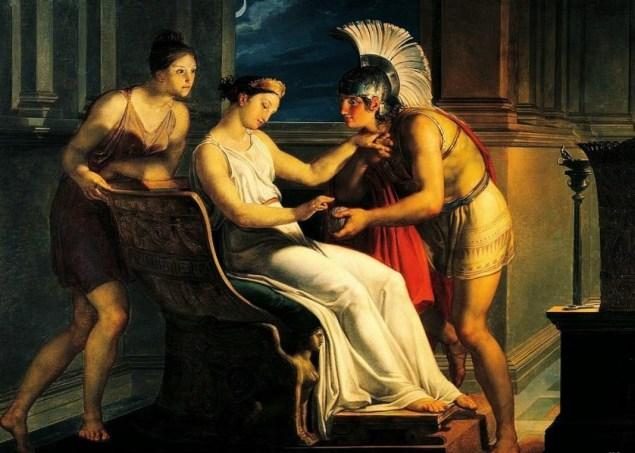 Ariane donnant à Thésée le fil pour le Labyrinthe