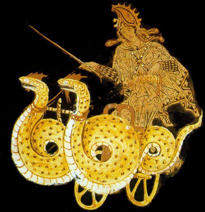 Médée sur son char tiré par des serpents