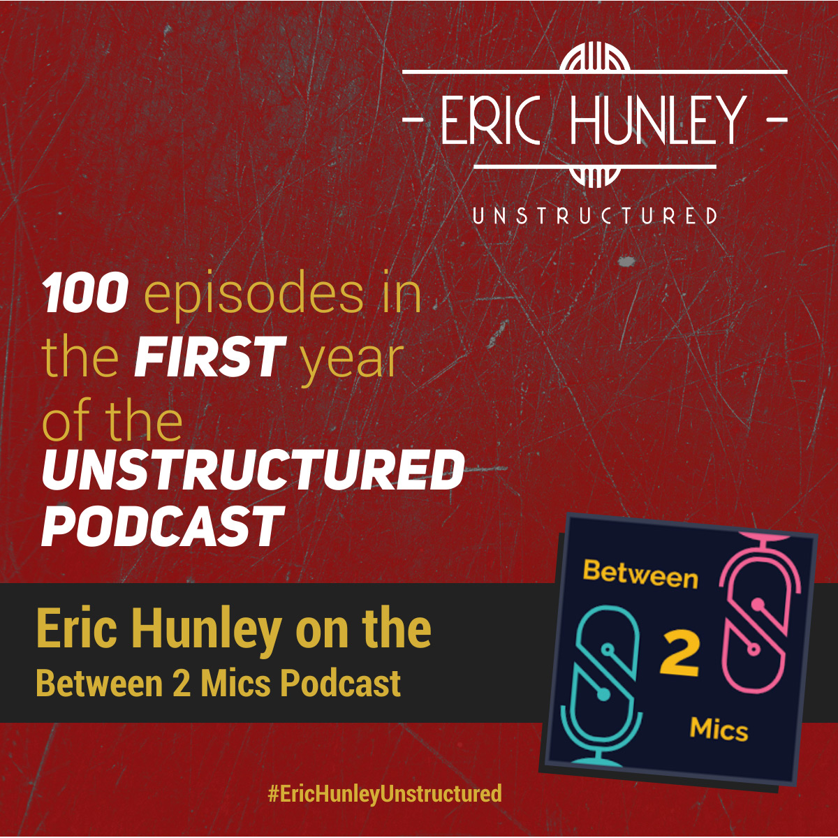 Eric Hunley Podcast Appearance Interviews - Between 2 Mics Podcast Podcast Square Post