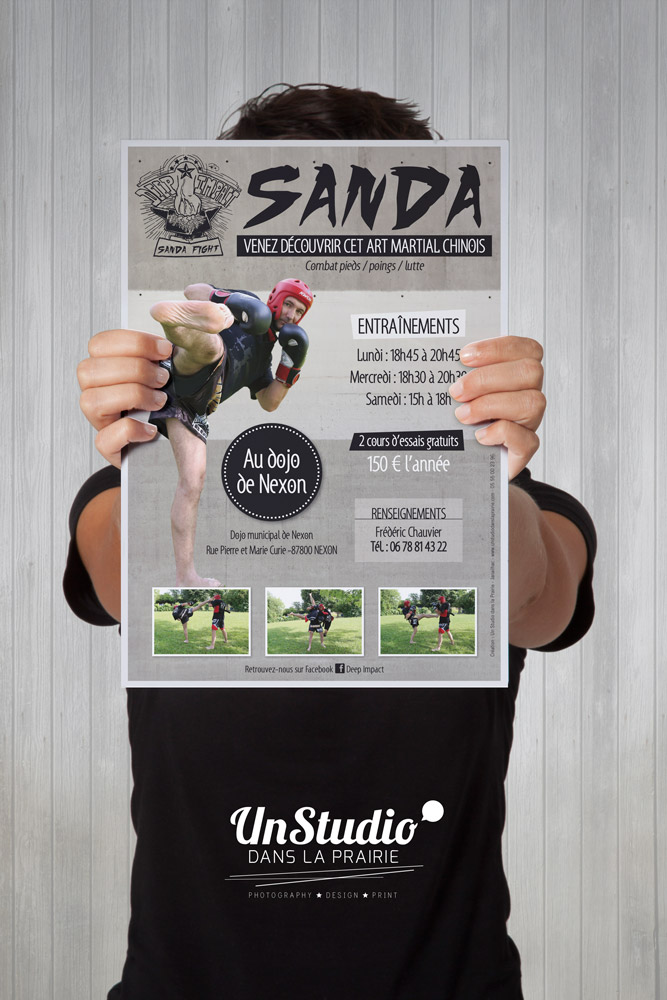 print, affiche, sanda, sport, club, nexon, art martial, communication, janailhac, limoges, clermont, graphiste