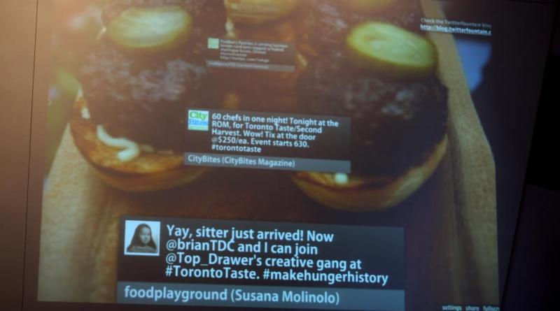 TWitter wall at Toronto Taste 2010