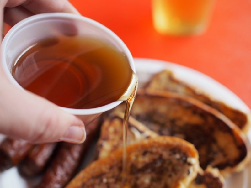 Maple Syrup on French Toast at Shaw's Maple Bush - LetsGoMaple