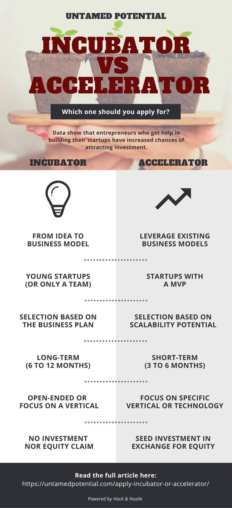 Infographic - Should you apply for an incubator or an accelerator?