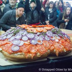 PHOTOS: World's Largest Salmon Lox Bagel at 213.75 lbs Made at Acme Smoked Fish in Brooklyn
