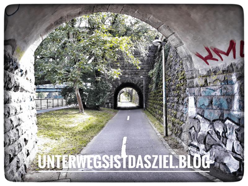 Fahrradweg in Basel an der Wiese
