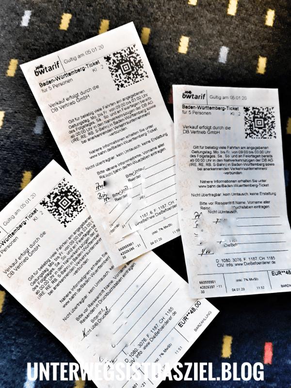 drei Baden-Württemberg-Tickets für je 5 Personen. Lesen Sie in meinem Blog warum dies die günstigste Möglichkeit ist um mit einer Gruppe innerhalb Baden-Württemberg zu reisen