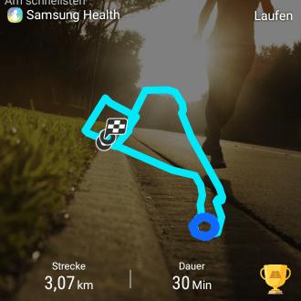 Die Samsung Health App zeichnet auch die Strecke auf. der Blaue Kreis zeigt das ich mehrfach im Kreis gelaufen bin