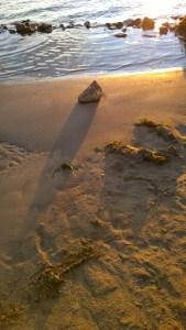Stein, Strand, Abendlicht.
