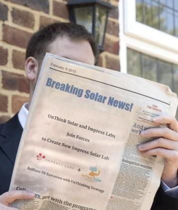 Impress Labs and Unthink Solar Team Up to FormNew Dedicated Solar Marketing and PR Agency