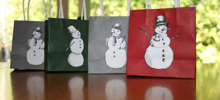Snowman shopping bags