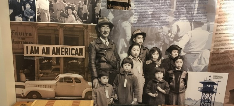 Photo wall about the incarceration at the Japanese American Museum in San Jose