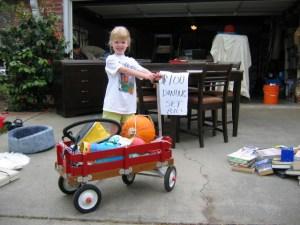 garage sale girl wagon